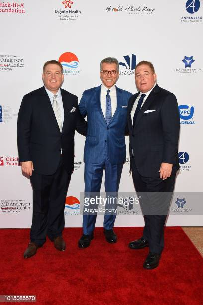 Michael Buffer and the Pump brothers attend the 18th Annual Harold and Carole Pump Foundation Gala at The Beverly Hilton Hotel on August 10 2018 in...