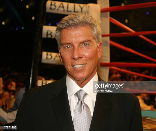 """Michael Buffer during Floyd Mayweather Jr. Versus DeMarcus """"Chop Chop"""" Corley - May 22, 2004 at Boardwalk Hall in Atlantic City, New Jersey, United..."""