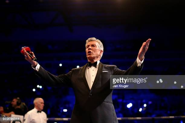 Michael Buffer hypes up the crowd ahead of the Super Welterweight bout between Amir Khan and Phil Lo Greco at Echo Arena on April 21 2018 in...