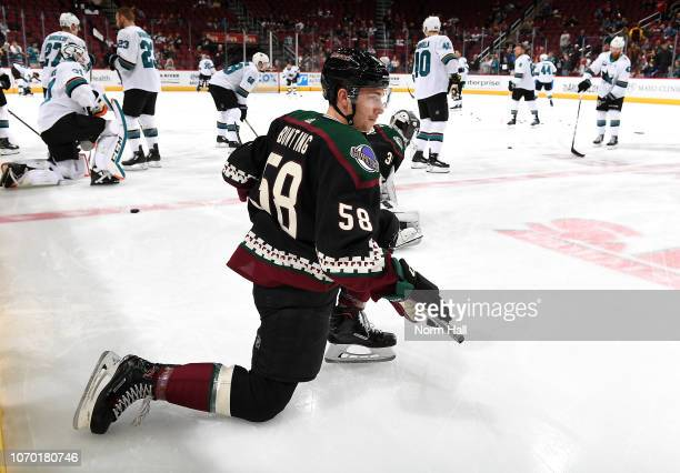 Michael Bunting of the Arizona Coyotes stretches prior to a game against the San Jose Sharks at Gila River Arena on December 8 2018 in Glendale...
