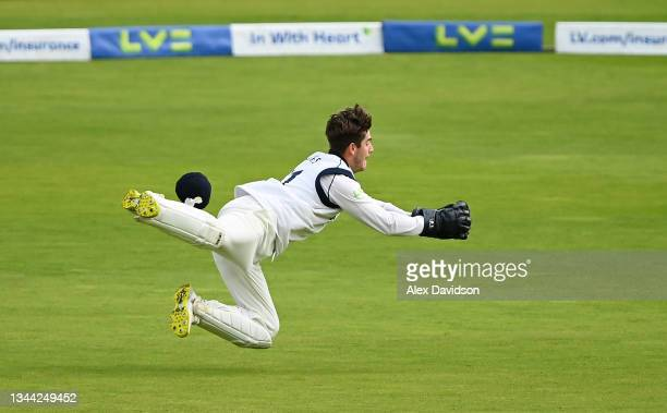 Michael Burgess of Warwickshire takes the catch to dismiss Tom Bailey of Lancashire and win on Day 4 of the Bob Willis Trophy Final between...
