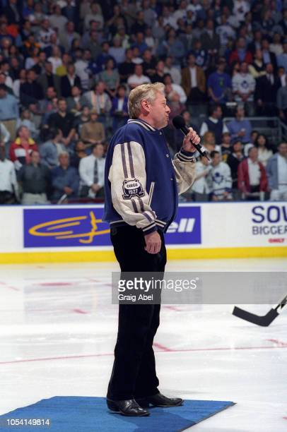 Michael Burgess sings prior to the game between the Pittsburgh Penguins and the Toronto Maple Leafs during the 1999 Quarter Finals of the NHL playoff...