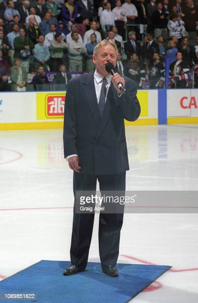Michael Burgess sings the anthems prior to the game between the Buffalo Sabres and the Toronto Maple Leafs during the 1999 NHL SemiFinal playoff game...