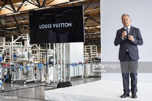Michael Burke chief executive officer of Louis Vuitton delivers a speech as the luxury label opens a new leather goods workshop in BeaulieuSurLayon...