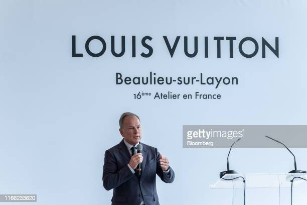 Michael Burke chief executive officer of Louis Vuitton delivers a speech as the luxury fashion label opens a new leather goods workshop in...