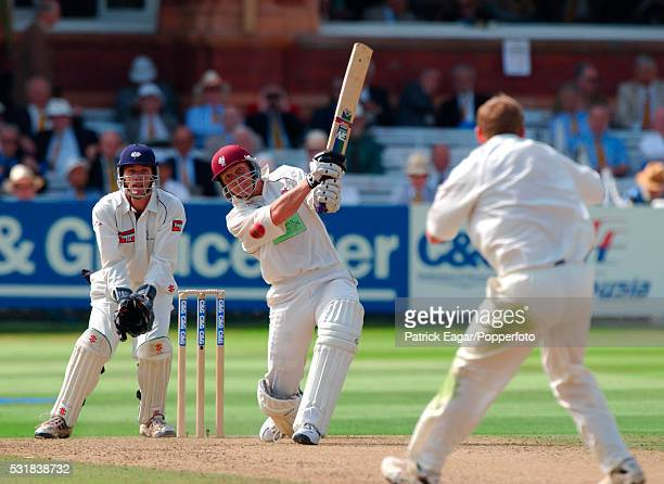 Michael Burns of Somerset drives Anthony McGrath of Yorkshire for 4 runs during the Cheltenham Gloucester Trophy Final between Somerset and Yorkshire...