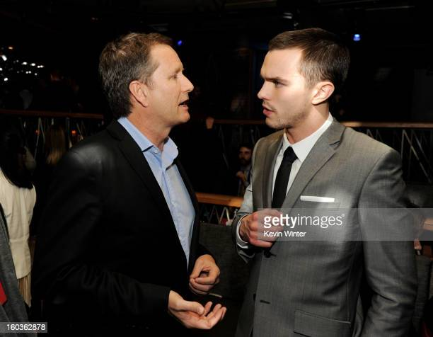 Michael Burns Vice Chairman Lionsgate and actor Nicholas Hoult pose at the after party for the premiere of Summit Entertainment's Warm Bodies at The...