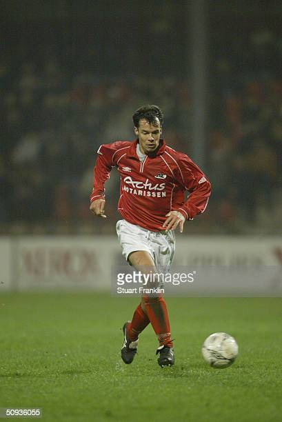 Michael Buskermolen of AZ Alkmaar in action in The Dutch First Division match between AZ and ADO den Haag on January 23, 2004 at The AZ Stadium in...