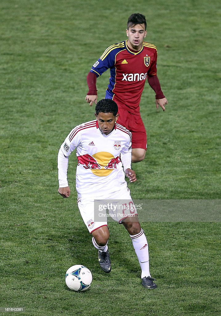 Michael Bustamante #20 of the New York Red Bulls controls the ball during the second half of the FC Tucson Desert Diamond Cup against Real Salt Lake at Kino Sports Complex on February 13, 2013 in Tucson, Arizona.