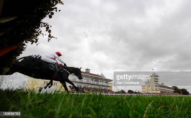 Michael Byrne riding My Oh Mount Brown clear the last to win The Mick White 70th Birthday 'National Hunt' Novices' Handicap Hurdle Race at Towcester...