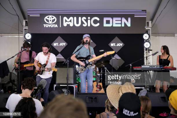 Michael Byrnes Sam Cooper Matt Quinn Sotiris Eliopoulos and Jackie Miclau of Mt Joy perform onstage at the Toyota Music Den during the 2018 Life Is...