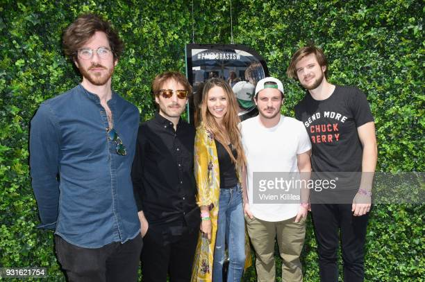 Michael Byrnes Sotiris Eliopoulos Jackie Miclau Sam Cooper and Matt Quinn of Mt Joy attend Pandora SXSW 2018 on March 13 2018 in Austin Texas