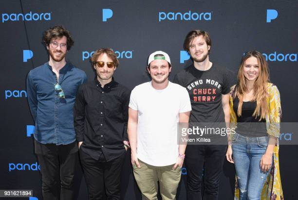 Michael Byrnes Sotiris Eliopoulos Sam Cooper Matt Quinn and Jackie Miclau of Mt Joy attend Pandora SXSW 2018 on March 13 2018 in Austin Texas