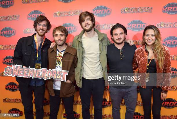 Michael Byrnes Sotiris Eliopoulos Sam Cooper Matt Quinn and Jackie Miclau of Mt Joy attend KROQ Weenie Roast 2018 at StubHub Center on May 12 2018 in...
