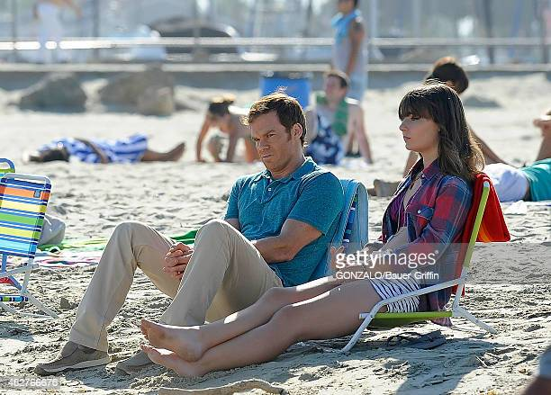 Michael C Hall and Christina Robinson are seen on the set of 'Dexter' on August 20 2012 in Los Angeles California