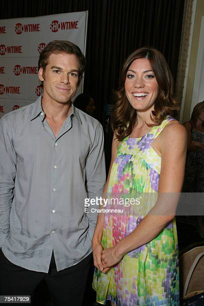 BEVERLY HILLS CA JULY 14 Michael C Hall and Jennifer Carpenter of 'Dexter' pose in the green room at Showtime's TCA at the Beverly Hilton on July 14...