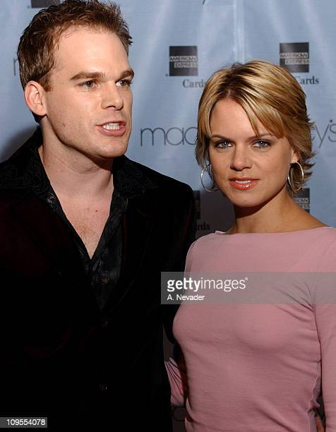 Michael C Hall and wife Amy Spanger during Macy's and American Express 'Passport 2002' 20th Anniversary Gala Arrivals at Barker Hangar in Santa...