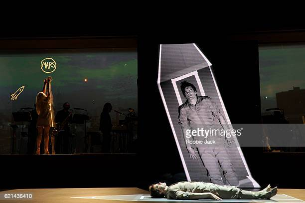Michael C Hall as Newton and Sophie Anne Caruso as Girl in David Bowie and Enda Walsh's Lazarus directed by Ivo van Hove at the Kings Cross Theatre...