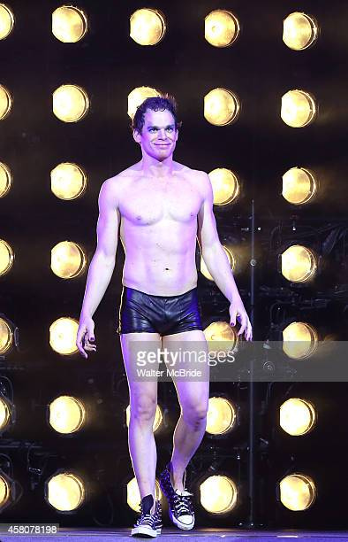 Michael C Hall during the curtain call as he takes over the role of Hegwig in the Broadway Musical 'Hedwig And The Angry Inch' at Belasco Theatre on...