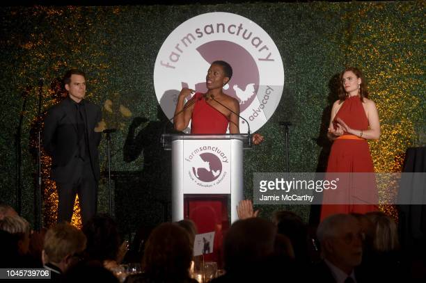 Michael C Hall Tracye McQuirter and Emily Deschanel appear onstage during the 2018 Farm Sanctuary on the Hudson gala at Pier 60 on October 4 2018 in...