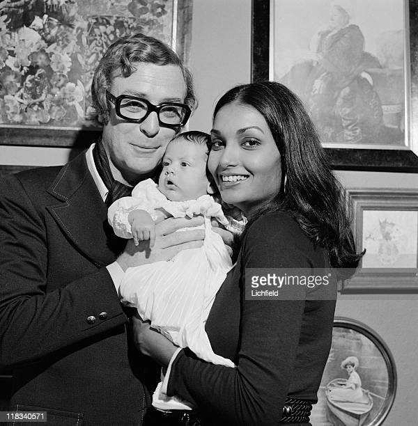 Michael Caine and family, British actor with his wife Shakira and daughter Natasha, 25th September 1973.