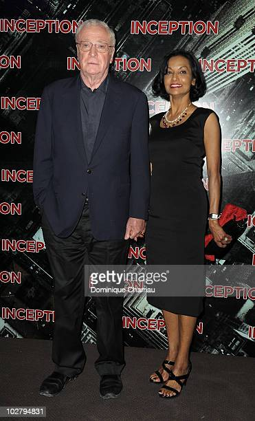 Michael Caine and his wife Shakira attend the Paris Premiere for the film 'Inception' at Gaumont Champs Elysees on July 10 2010 in Paris France