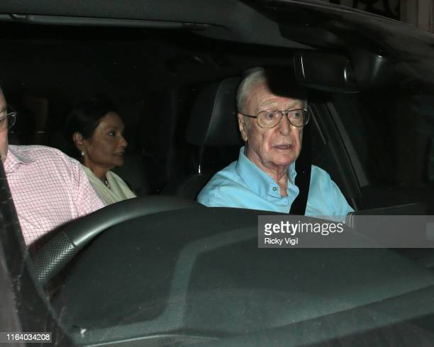 Michael Caine and Shakira Caine seen on a night our at Scott's restaurant in Mayfair on July 24, 2019 in London, England.