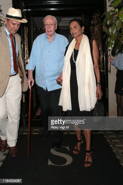 Michael Caine and Shakira Caine seen on a night out at Scott's restaurant in Mayfair on July 24, 2019 in London, England.
