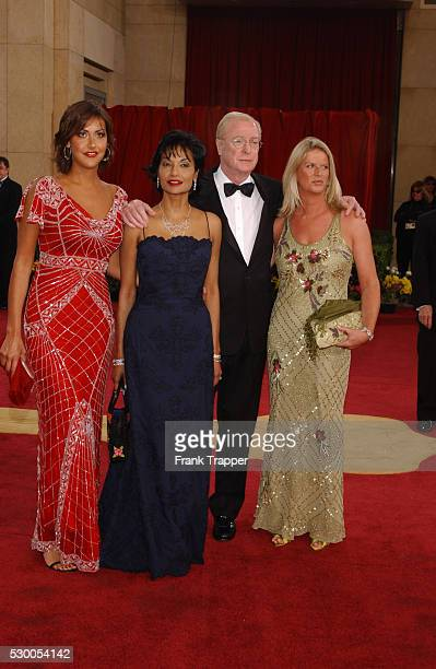 Michael Caine and wife Shakira and daughters Dominique and Natasha arriving at the 75th Annual Academy Awards