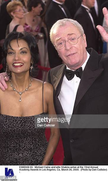 Michael Caine and wife Shakira arrive at the 72nd Annual Academy Awards in Los Angeles Ca March 26 2000