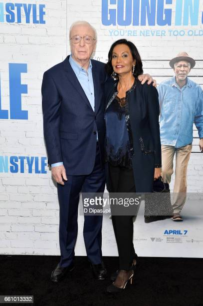 Michael Caine and wife Shakira Caine attend the Going in Style New York premiere at SVA Theatre on March 30 2017 in New York City