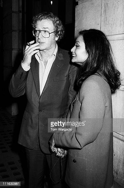 Michael Caine and wife Shakira during Michael Caine Sighting at Langan's Brasserie - 1987 at Langan's Brasserie in London, United Kingdom.