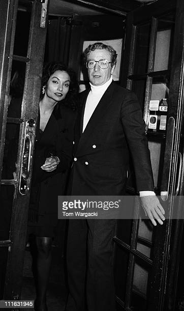 Michael Caine and wife Shakira during Michael Caine Sighting at Langan's Brasserie 1987 at Langan's Brasserie in London United Kingdom