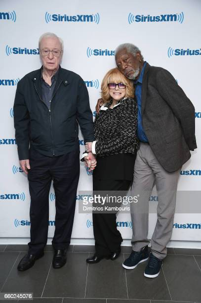 Michael Caine AnnMargret and Morgan Freeman pose during SiriusXM's 'Town Hall' with the cast of 'Going In Style' Town Hall to air on Entertainment...