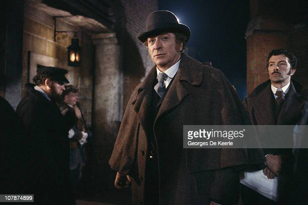 Michael Caine as Chief Inspector Abberline and Lewis Collins as Sgt Godley during production of the TV miniseries 'Jack the Ripper' directed by David...