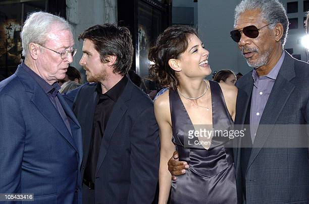 Michael Caine, Christiane Bale, Katie Holmes and Morgan Freeman