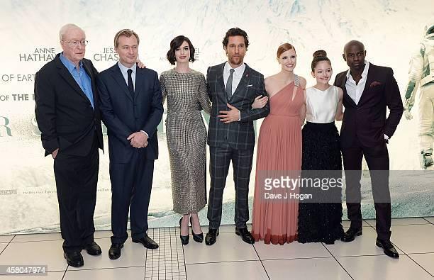 Michael Caine, Christopher Nolan, Anne Hathaway, Matthew McConaughey, Jessica Chastain, Mackenzie Foy and David Gyasi attend the European premiere of...