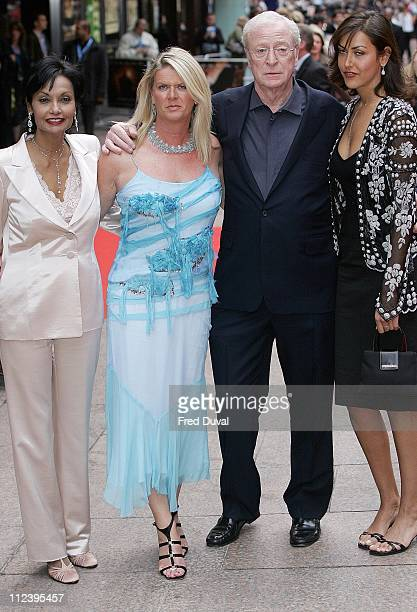 Michael Caine daughters and Shakira Caine during Batman Begins London Premiere Arrivals at Odeon Leicester Square in London Great Britain