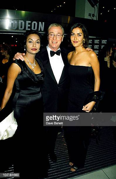 """Michael Caine poses with wife Shakira Caine and daughter Natasha Caine at the """"Little Voice"""" Gala Screening during the 42nd London Film Festival at..."""