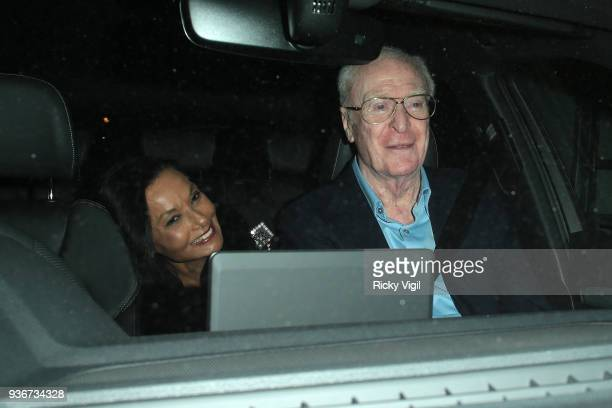 Michael Caine seen attending Lord Andrew Lloyd Webber birthday party at The Theatre Royal Drury Lane on March 22 2018 in London England