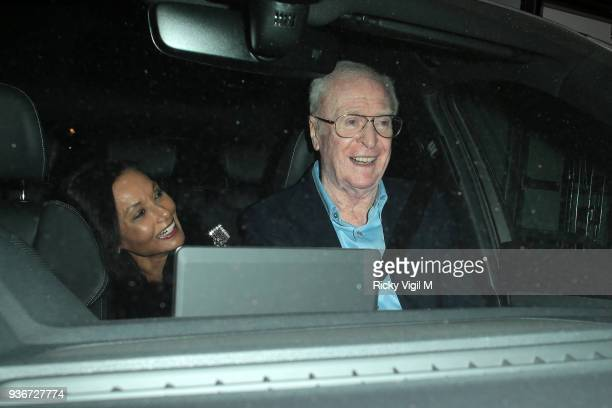 Michael Caine seen attending Lord Andrew Lloyd Webber's birthday party at The Theatre Royal Drury Lane on March 22 2018 in London England