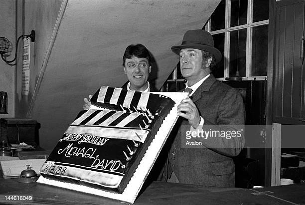 "Michael Caine with David Wickes at a photocall for "" Jack the Ripper "" on 14th March 1988.;"