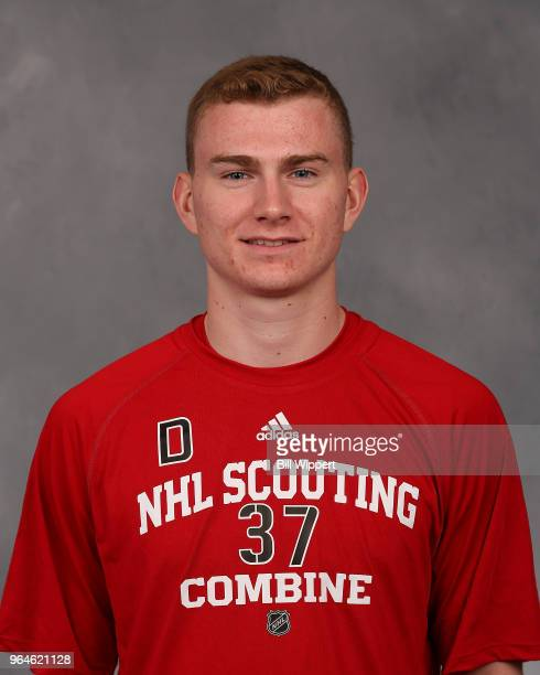 Michael Callahan poses for a headshot at the NHL Scouting Combine on May 31 2018 at HarborCenter in Buffalo New York