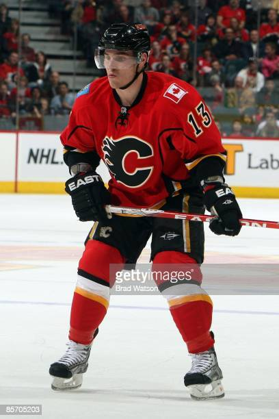 Michael Cammalleri of the Calgary Flames skates against the Detroit Red Wings on March 23, 2009 at Pengrowth Saddledome in Calgary, Alberta, Canada....