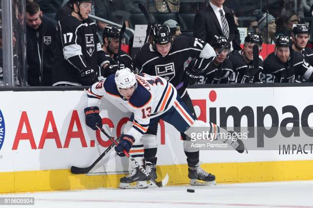 Michael Cammalleri of the Edmonton Oilers battles for the puck against Tyler Toffoli of the Los Angeles Kings at STAPLES Center on February 7 2018 in...