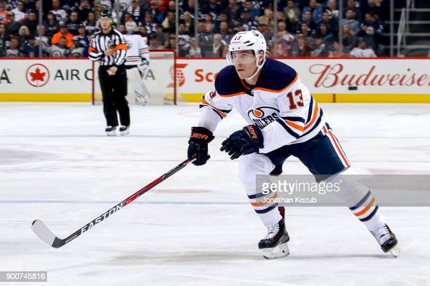 Michael Cammalleri of the Edmonton Oilers follows the play down the ice during first period action against the Winnipeg Jets at the Bell MTS Place on...