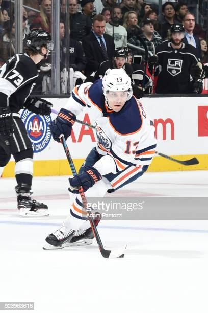 Michael Cammalleri of the Edmonton Oilers handles the puck during a game against the Los Angeles Kings at STAPLES Center on February 24 2018 in Los...