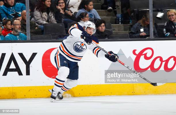 Michael Cammalleri of the Edmonton Oilers passes the puck against the San Jose Sharks at SAP Center on February 10 2018 in San Jose California