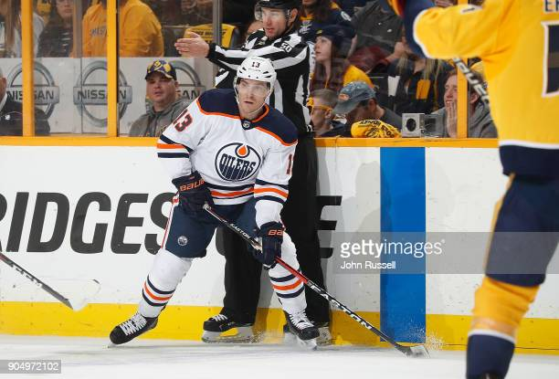 Michael Cammalleri of the Edmonton Oilers skates against the Nashville Predators during an NHL game at Bridgestone Arena on January 9 2018 in...