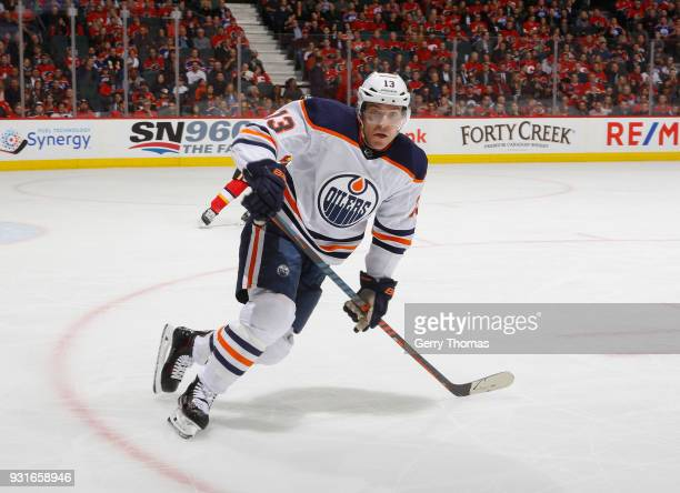 Michael Cammalleri of the Edmonton Oilers skates in his 900th game against the Calgary Flames at Scotiabank Saddledome on March 13 2018 in Calgary...